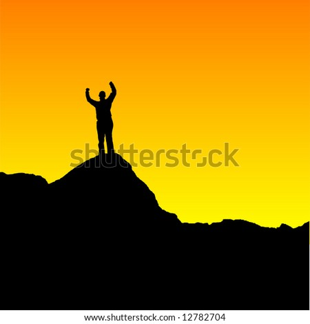 Easily editable vector of a woman standing on top of a mountain at sunset - stock vector