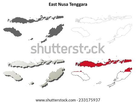 East Nusa Tenggara blank outline map set - stock vector