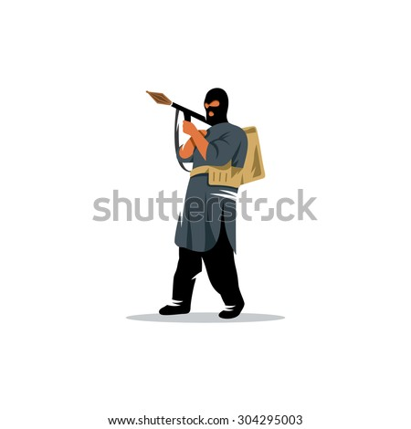 East soldier with a grenade launcher in his hands sign. Vector Illustration. Branding Identity Corporate logo design template Isolated on a white background - stock vector