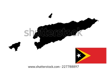 East Timor vector map high detailed silhouette illustration isolated on white background. Original and simple East Timor flag isolated vector in official colors and Proportion Correctly. - stock vector