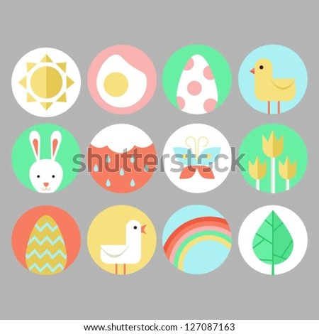 Easter and spring icon set - stock vector
