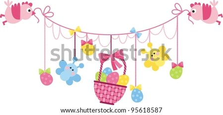 Easter Arrangement - the birds are kept in the beak a basket and Easter eggs.Vector image. - stock vector