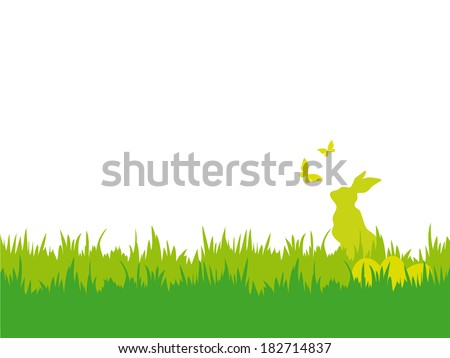 Easter background with butterflies, bunny and eggs. Easter vector illustration with silhouettes of bunny, butterflies, eggs and grass - stock vector