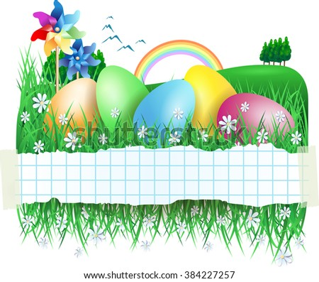 Easter background with chick and Easter eggs, vector illustration  - stock vector