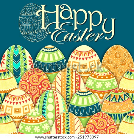 Easter background with colorful doodle eggs. Zentangle style. - stock vector