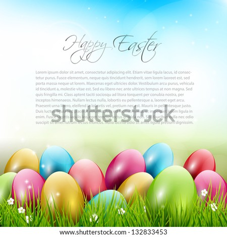 Easter background with colorful eggs in grass - stock vector