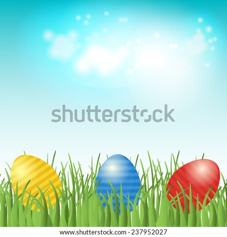 Easter background with copyspace in the sky and  different colors painted Easter Eggs in the green grass. Look through my portfolio to find more images of the same series - stock vector
