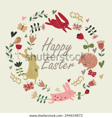 Easter background with cute easter  bunnies, flowers, butterflies and birds in cartoon style. Easter card. - stock vector