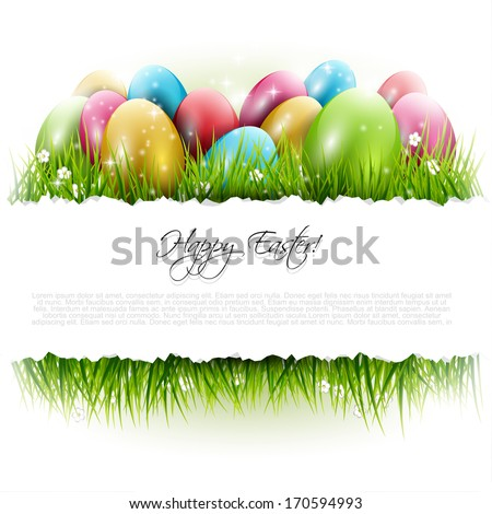 Easter background with eggs in grass and with copyspace - stock vector