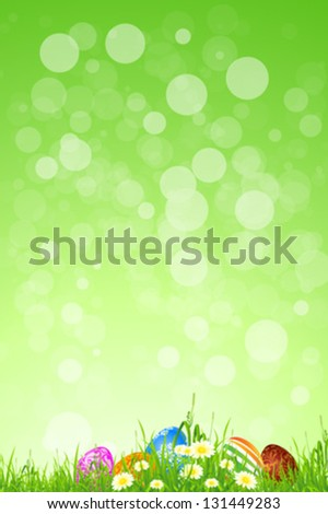 Easter Background with Flowers and Grass - stock vector