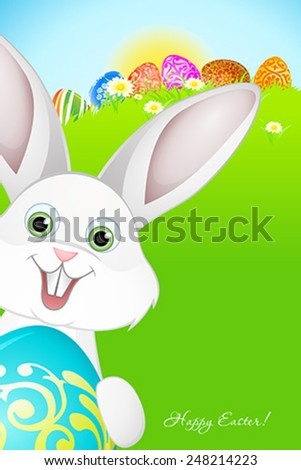 Easter Background with Flowers, Grass, Eggs and Rabbit - stock vector
