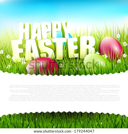 """Easter background with """"Happy Easter"""" sign in the grass and with place for text - stock vector"""