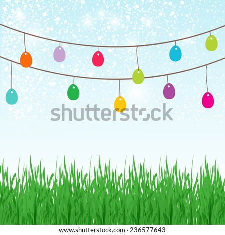 Easter background with place for text in the sky and  different colors painted Easter Eggs in the green grass.  - stock vector
