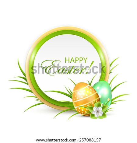 Easter banner with eggs and flower, illustration. - stock vector