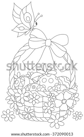 Easter basket and butterfly - stock vector