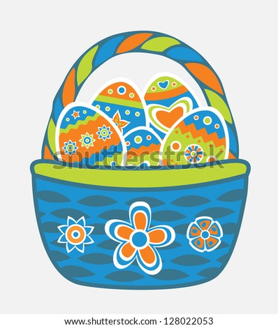 Easter basket with eggs - stock vector