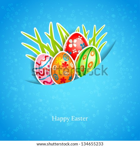 Easter blue background with egg and grass - stock vector