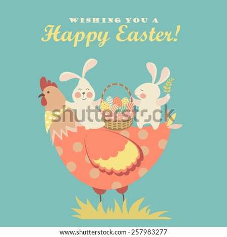 Easter bunnies,chicken and easter eggs. Vector illustration - stock vector