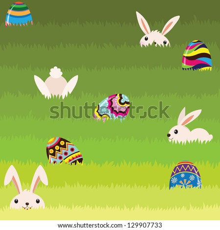 Easter Bunny and Colorful Painted Egg - stock vector