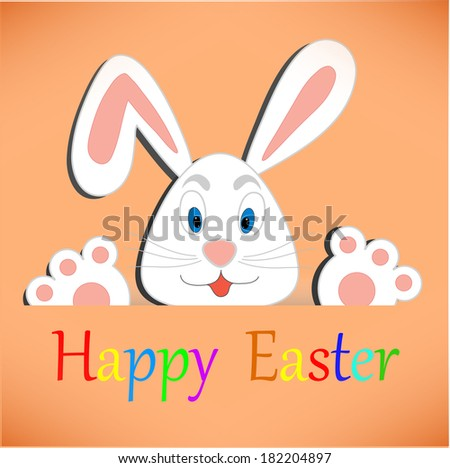 Easter bunny card - stock vector