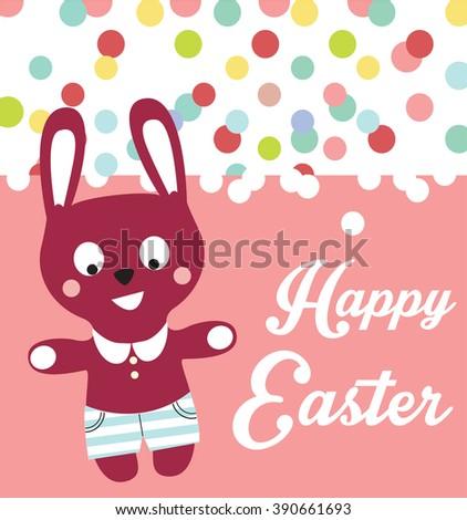 Easter bunny card - stock vector
