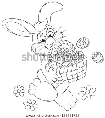 Easter Bunny carrying a basket of painted Easter eggs, black and white outline illustration for a coloring book - stock vector