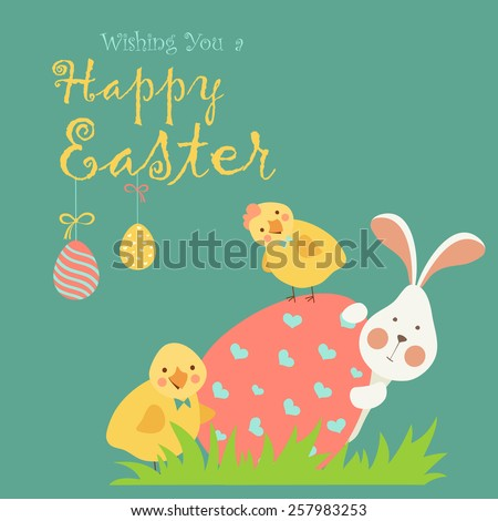 Easter bunny,chicken and easter egg. Vector illustration - stock vector