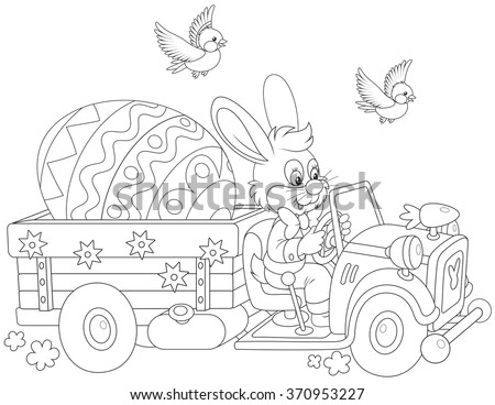 Easter Bunny driving a truck with a big decorated egg - stock vector