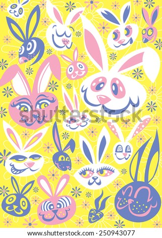 Easter Bunny Graphic Pattern - stock vector