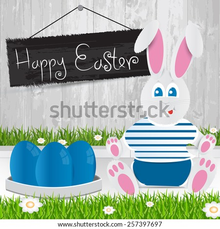 Easter bunny. Happy Easter . Blue Easter eggs.The grass with a wooden fence and flowers. - stock vector