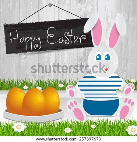 Easter bunny. Happy Easter . Orange Easter eggs.The grass with a wooden fence and flowers. - stock vector