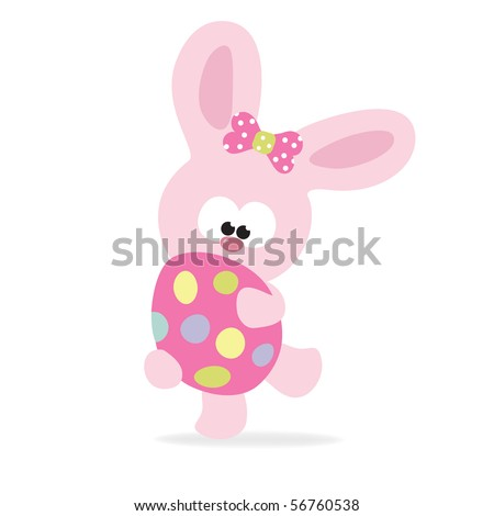 Easter bunny holding an egg - stock vector