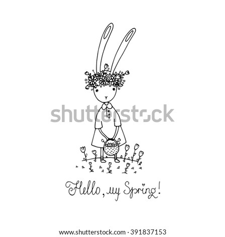 Easter bunny in a wreath. Basket of flowers. Hand drawing isolated objects on white background. Vector illustration. Coloring book. - stock vector