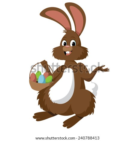 Easter bunny isolated on white stock illustration - stock vector