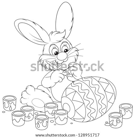 Easter Bunny painting a big Easter egg to the holiday, black and white outline illustration for a coloring book - stock vector