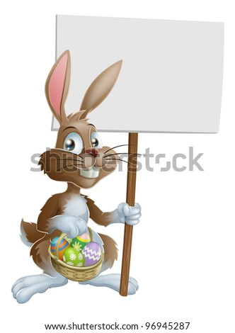 Easter bunny rabbit holding a basket of Easter eggs and a sign - stock vector
