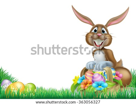 Easter bunny with a basket full of decorated chocolate Easter eggs in a field - stock vector