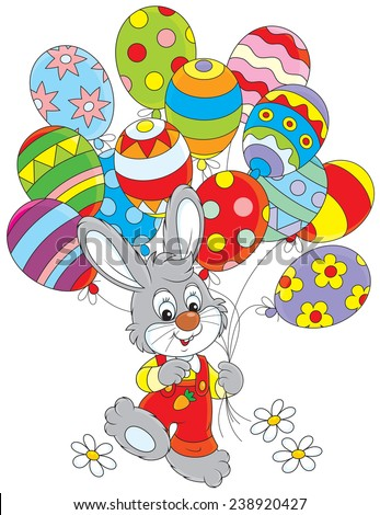 Easter Bunny with balloons - stock vector