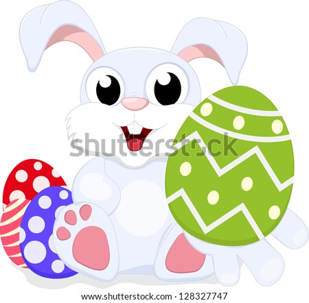 Easter Bunny With Egg - stock vector