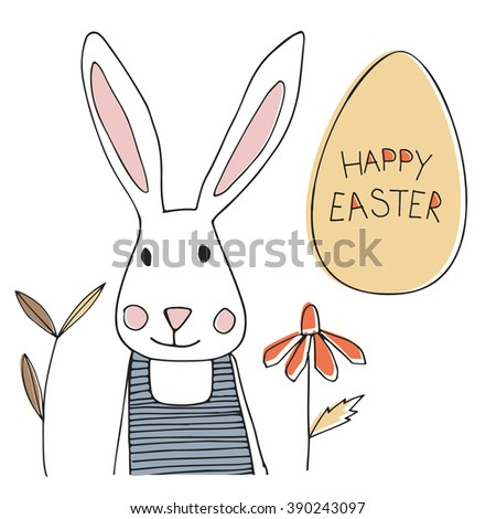 Easter bunny with egg and spring flowers - stock vector