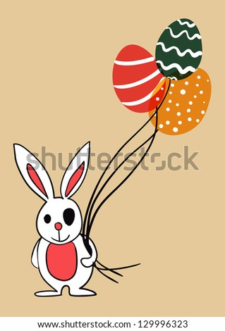 Easter bunny with eggs as balloons. EPS10 file version. This illustration contains transparencies and is layered for easy manipulation and custom coloring - stock vector