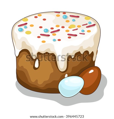 Easter cake and eggs. Vector illustration. - stock vector