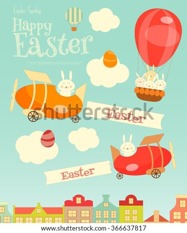 Easter Card - Easter Bunnies Flying on Airplane and Hot Air Balloon over the City. Vector Illustration. - stock vector