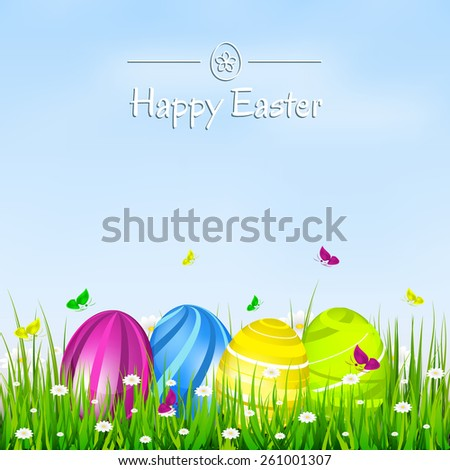 Easter card. Easter eggs, flowers, butterflies and green grass/design for your greeting card, vector illustration - stock vector