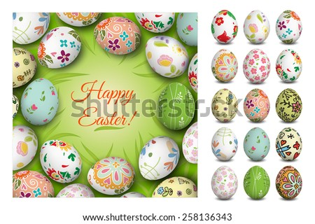 Easter card. Vector. Holiday background. Set of Isolated Easter eggs.  - stock vector
