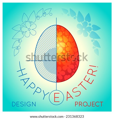 Easter card with a drawing of bright red egg in a cut with shading and axes on a blue background - stock vector