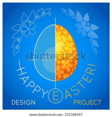 Easter card with a drawing of bright yellow egg in a cut with shading and axes on a blue background - stock vector