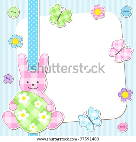 Easter card with bunny holding painted egg - stock vector