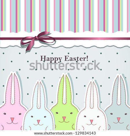 Easter card with cute bunny - stock vector