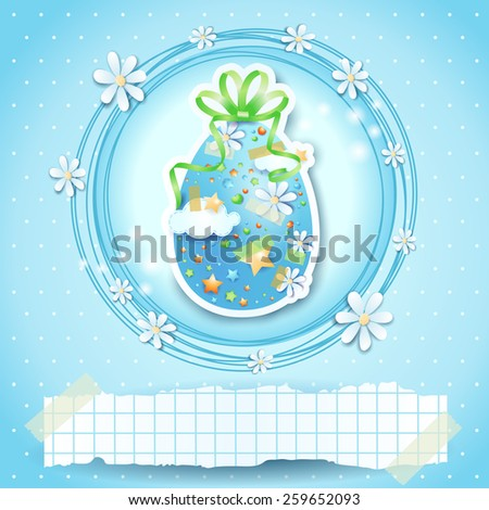Easter card with Easter egg and copy space, vector eps 10 - stock vector
